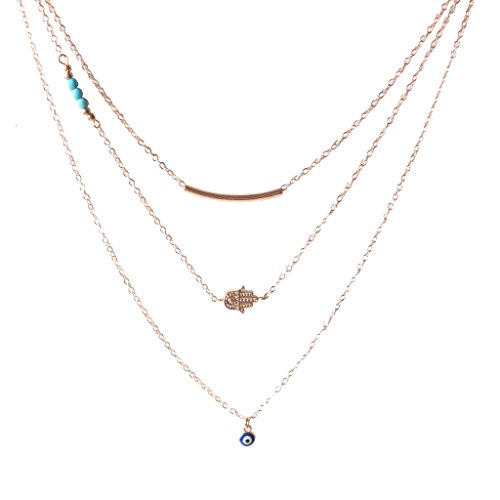 Layered Necklaces Long Chain Hamsa Hand of Fatima Evil Eye Necklaces Pendant for Women Rose Gold