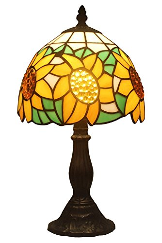 (Amora Lighting AM118TL08 Tiffany Style Sunflower Table Lamp, 8