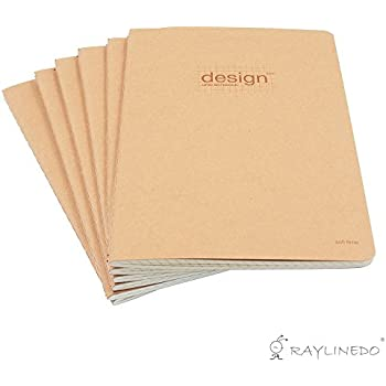 RayLineDo 80 Pages A5 5MM Squared Grid Format Engineering Notebook Project Ring Notebook Thread Binding Soft Cover Science Journal Kraft Brown - 6Pack
