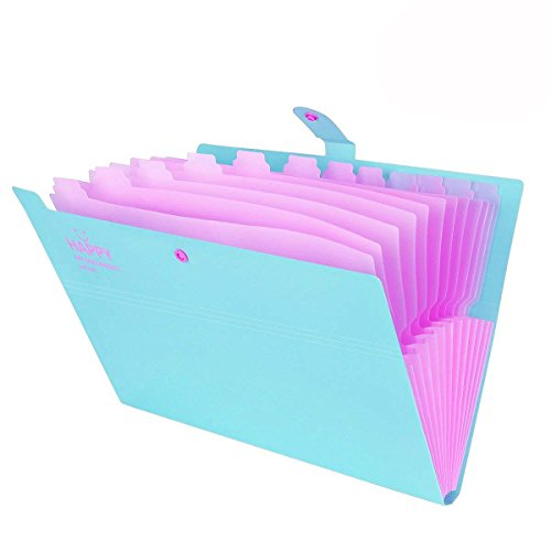 Expanding File Folders 12 - Pocket, Accordion Document Organizer, Plastic Letter Size A4 Paper Folder, Portable Office Business Study Student File Filing Bags, Happy Smile Printed, Snap Button Closure -