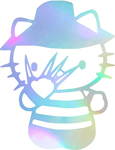 ANGDEST Movie Film Freddy Krueger Hello Kitty (Hologram) (Set of 2) Premium Waterproof Vinyl Decal Stickers for Laptop Phone Accessory Helmet Car Window Bumper Mug Tuber Cup Door Wall Decoration -