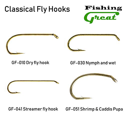Greatfishing Best Barbless Fishing Hooks (Shrimp & Caddis pupa Fly Hook GF-051, 10)
