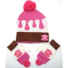 Paul Frank Julius Monkey Ice Cream Knitted Pom Beanie Mitten Glove Set for Girls