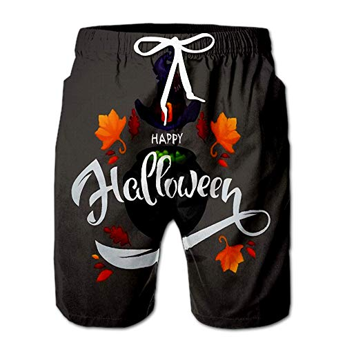 Happy Halloween Greeting Or Invitation with Composition and Cartoon Men Swimwear Volley Pants Pocket -
