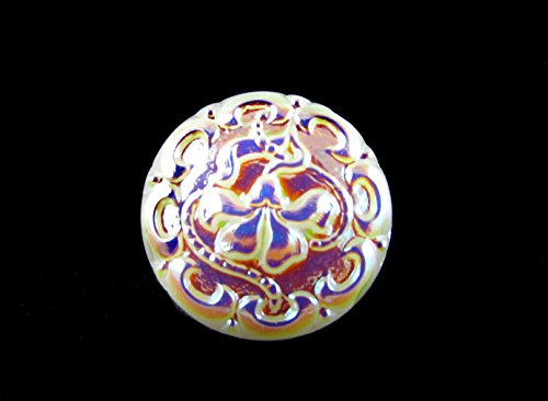 1pc Hand Made Art Czech Glass Button Flower White AB Size 8, 18mm