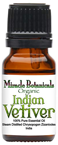 Miracle Botanicals Organic Indian Vetiver Essential Oil - 100% Pure Chrysopogon Zizanioides - 10ml or 30ml Sizes - Therapeutic Grade 10ml