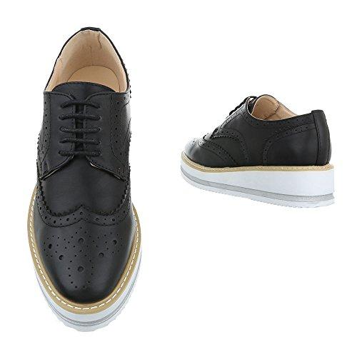 Ital-Design - Zapatos Planos con Cordones Mujer Schwarz 56255
