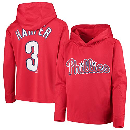 Outerstuff MLB Youth 8-20 Polyester Performance Player Name & Number Pullover Sweatshirt Hoodie (Large 14/16, Bryce Harper Philadelphia Phillies Red)