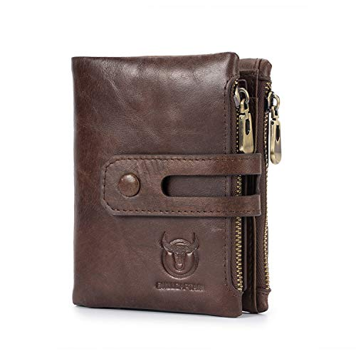 BAIGIO RFID Men Leather Zipper Wallet Zip Around Wallet Bifold Multi Card Holder Purse (Brown-1)