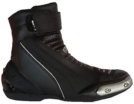 f6fe9de7666a02 WinNet Stivali stivaletti bassi scarpe modello Falco in pelle nera per moto