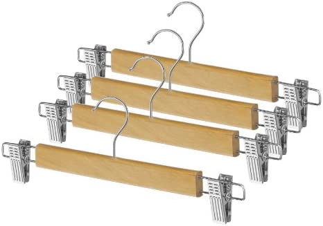 Whitmor Grade A Wood Clip Skirt Hanger (Set of 4)