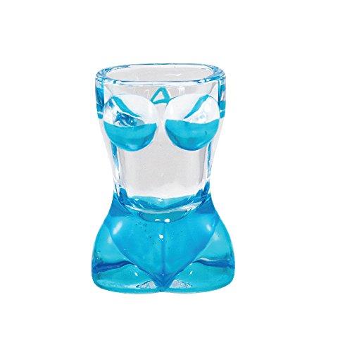 Shot Glass BIKINI SHAPE Sexy Bikini Bachelor Party Novelty Shot Glass (Blue)