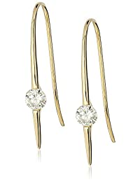 18k Yellow Gold over Sterling Silver VG Moissanite Wire Drop Earrings