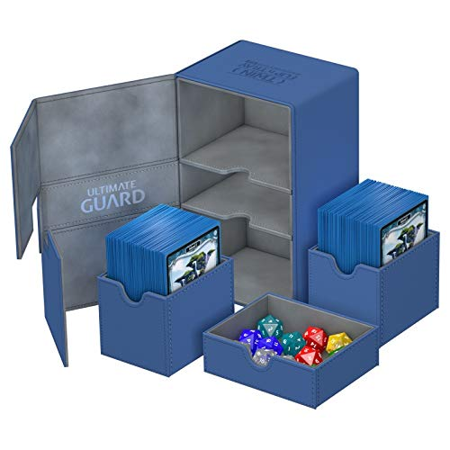 Blue Ultimate Guard XenoSkin 200+ Twin Flip n Tray Deck & Dice Case Protector