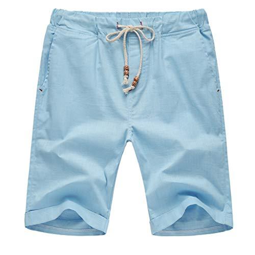 ildlor Summer Linen Shorts Men Cotton Solid Beach Casual Elastic Waist Classic Fit Shorts Light Blue
