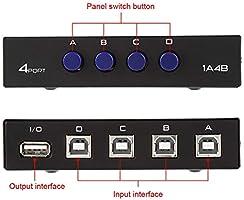 ASHATA Conmutador de Intercambio periférico USB 2.0, 2/4 Puertos ...