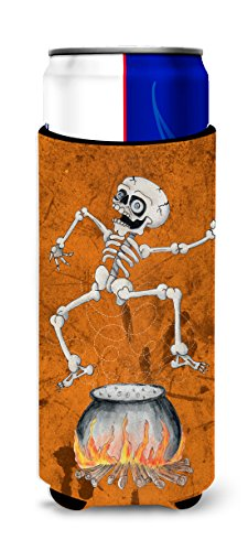 Skeleton jumping from Witches Caldron Halloween Ultra Beverage Insulators for slim cans SB3013MUK ()