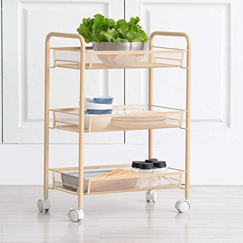 Iris'Home Easy Assemble 3-Tier Bathroom Cart, Small Rolling Cart, Office File Cart, Kitchen Storage Cart on Wheels, Utility cart, Storage Rack, Mesh Designing -Beige