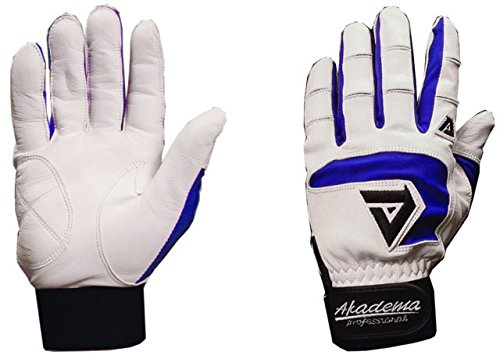 Akadema White/Royal Blue Professional Batting Gloves XXL by Akadema