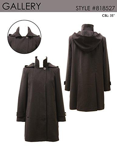Gallery Women's Dressy A line Polyester Gabardine rain Coat, Black, X Large