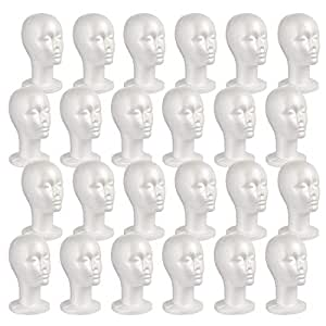 16 PACK STUDIO LIMITED Styrofoam Mannequin Head Long Neck White Foam Wig Head Display with Wig Cap 4pcs and Portable Wig Stand