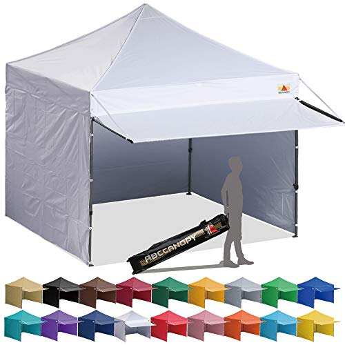 (ABCCANOPY 10x10 EZ Pop up Canopy Tent Instant Shelter Commercial Portable Market Canopy with 4 Removable Zipper End Side Walls & Wheeled Bag, Bonus 4 Sand Bags & 23 Square Feet of Awning (White))