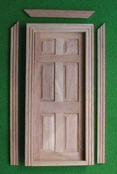 112 Scale Dolls House Panelled Wooden Door Complete With Architrave