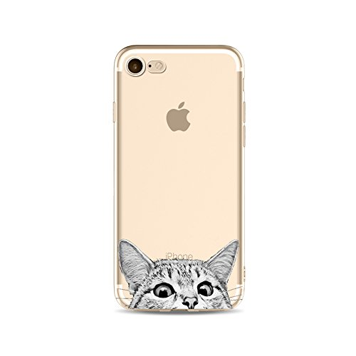 DECO FAIRY Compatible with iPhone 5C, Cartoon Anime Animated Egyptian Mau Cat kitty pussy series Transparent Translucent Flexible Silicone Cover Case