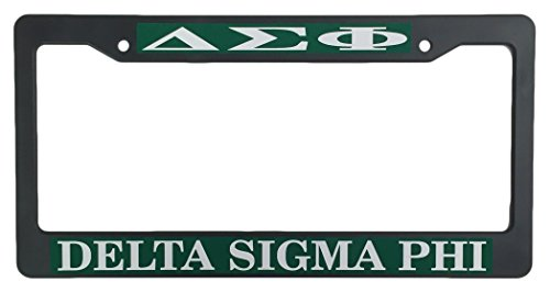 Delta Sigma Phi Black Plastic License Plate Frame Greek Fraternity Letter For Front Back of - Plate License Frame Delta