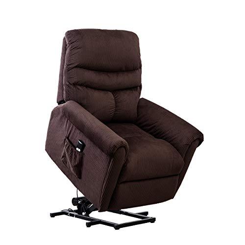 BONZY Lift Recliner Chair Power Lift Chair with Gentle Motor Long Hair Micro Fiber - Chocolate