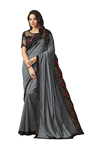 Women Designer Party For Wear Traditional SariGrey Sarees Indian jLq5R4A3