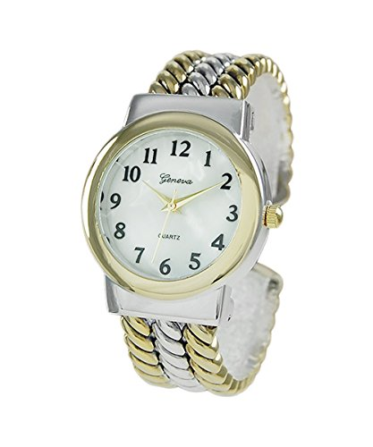 - Rosemarie Collections Women's Mother of Pearl Rope Bracelet Cuff Watch (Two Tone)