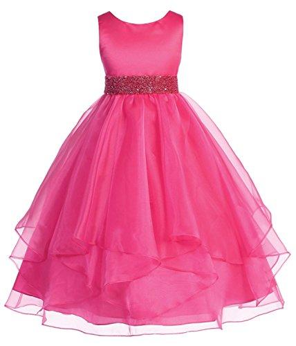 Chic Baby Girls Asymmetric Ruffles Satin/Organza Flower Girl Dress -Fuchsia-2-(CB302) ()