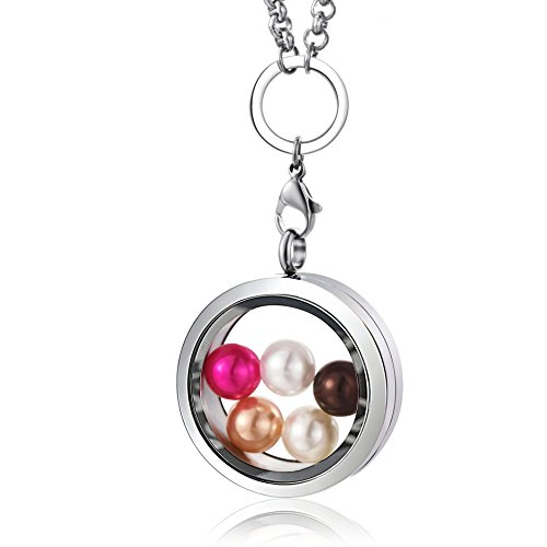 (CAPTTE High-Capacity Pearl Cage Pendant Necklace - 30mm Pearl Floating Locket Necklace, Stainless Steel Glass Pearl Jewelry with 5 PCS Round Pearls Inside (7-8mm))