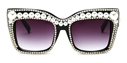 Slocyclub Women Handmade Jeweled Cateye Rectangle - Sunglasses Topman