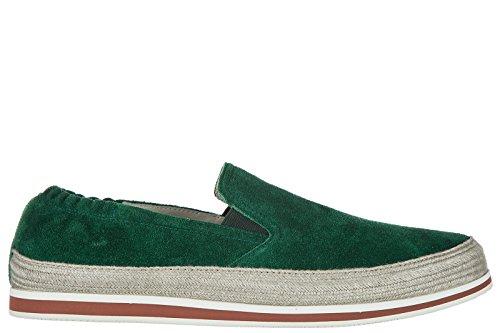 Prada Slip On Homme en Daim Sneakers Vert