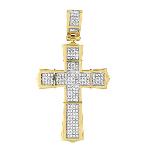 14K Gold Finish Cross Jesus Pendant Charm Lab Diamond Stainless Steel Large 3.6 by Master Of Bling