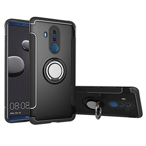 UNIYA Huawei Mate 20 Lite, Dual Layer Hybrid PC+TPU with Magnetic Car Patch 360 Rotation Ring Holder Case ()