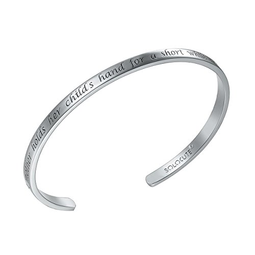 Silver Cuff Bracelet Bangle (SOLOCUTE Sterling Silver Cuff Bangle Bracelet Engraved