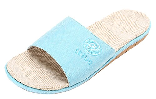 Blubi Womens Candy Color Open Toe Flax Summer Slippers Breathable House Slippers Sky Blue lGw2x