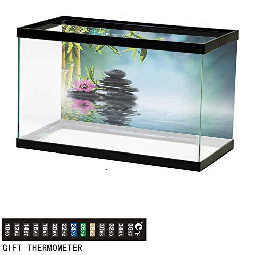 wwwhsl Aquarium Background,Spa,Tower Stone and Hibiscus with Bamboo on The Water Blurry Background,Petrol Blue Fuchsia Lime Green Fish Tank Backdrop 30