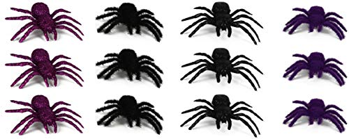 Set of 12 Prank Halloween Spiders Flocked with Glitter! Purple & Black! Perfect for Any Halloween Parties and Decorations! (12 Large Spiders)