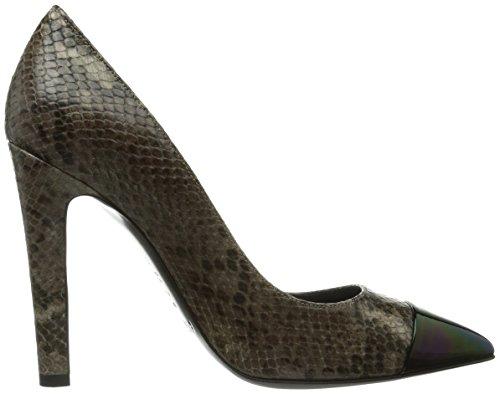 Beige 203 Pollini de cuero tacón zapatos de cerrados Elvira Fango Beige mujer wfnq4wzH