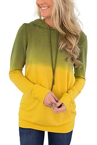 (Minipeach Women's Pullover Long Sleeve Hoodies Coat Loose Casual Sweatshirts with Pocket Yellow)