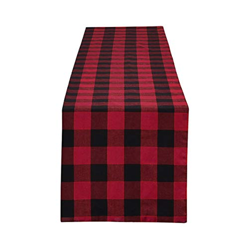 Smurfs Yingda Buffalo Plaid Table Runner Buffalo Check Table Runner Red & Black Checkered Gingham Table Runners for Dinner Parties, Catering Events, Wedding, Valentine's Day, Indoor and Outdoor -