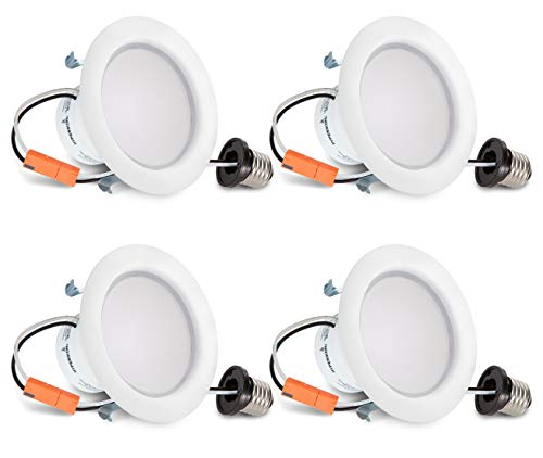 HyperSelect 4 Inch LED Downlight, 9W (65W Equivalent), Retrofit LED Recessed Fixture, 4000K (Daylight Glow), CRI84+, Slim Ceiling Light - Great for Bathroom, Kitchen, Office (4 Pack)