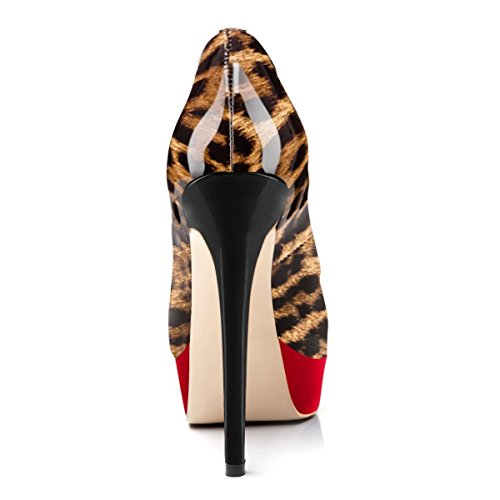 Shoes Women's Leopard Pointed Studded Ladies Shoes Pumps Flat Fashion Onlymaker Toe Red Patch UIwgTx5