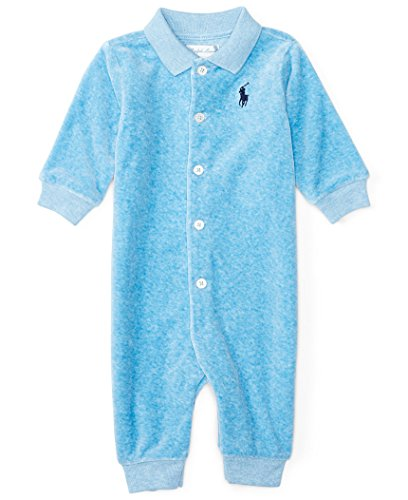 Ralph Lauren Baby Boy Velour Coveralls Blue Heather Overalls 9 Month Cotton Velour Overalls