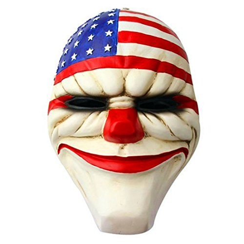 MICG Payday 2 Movie Theme Collection Halloween Props The Heist Stars & Stripes Clown Resin Mask]()