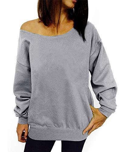 Dutebare Women Casual Long Sleeve Sweatshirt Slouchy Shirt Off Shoulder Pullover Tops Grey a XL